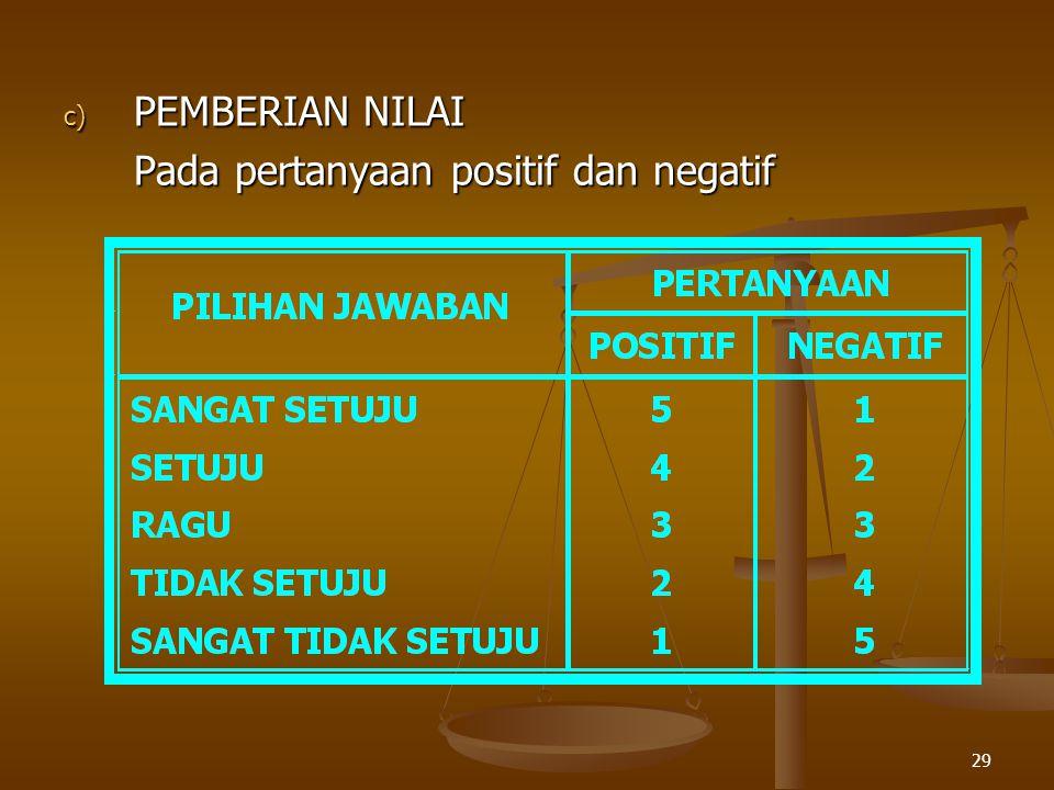 29 c) PEMBERIAN NILAI Pada pertanyaan positif dan negatif