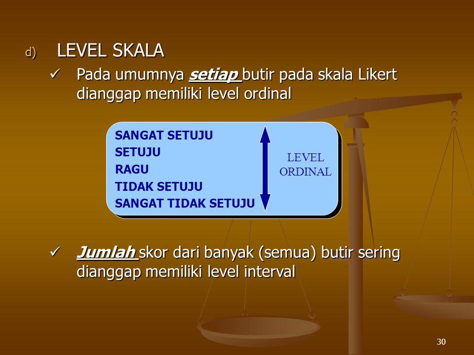 30 d) LEVEL SKALA Pada umumnya setiap butir pada skala Likert dianggap memiliki level ordinal Pada umumnya setiap butir pada skala Likert dianggap mem