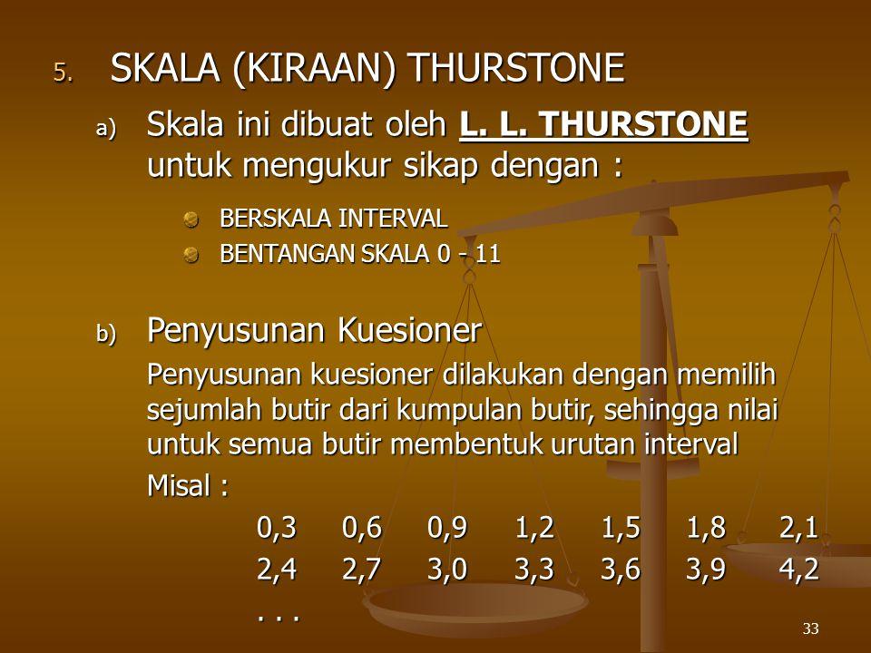 33 5. SKALA (KIRAAN) THURSTONE a) Skala ini dibuat oleh L. L. THURSTONE untuk mengukur sikap dengan : BERSKALA INTERVAL BENTANGAN SKALA 0 - 11 b) Peny