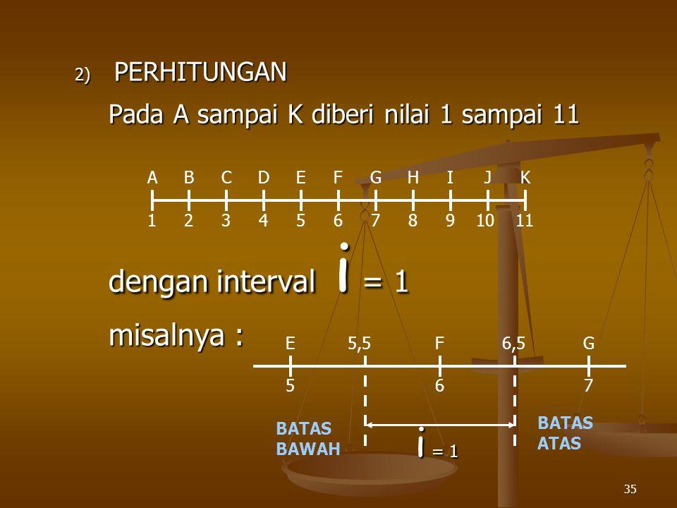 35 2) PERHITUNGAN Pada A sampai K diberi nilai 1 sampai 11 dengan interval i = 1 misalnya : 1234567891011 ABCDEFGHIJK 567 EFG i = 1 BATAS BAWAH BATAS ATAS 5,56,5
