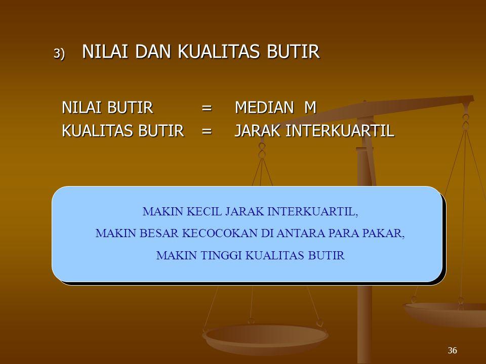 36 3) NILAI DAN KUALITAS BUTIR NILAI BUTIR=MEDIAN M KUALITAS BUTIR=JARAK INTERKUARTIL MAKIN KECIL JARAK INTERKUARTIL, MAKIN BESAR KECOCOKAN DI ANTARA PARA PAKAR, MAKIN TINGGI KUALITAS BUTIR