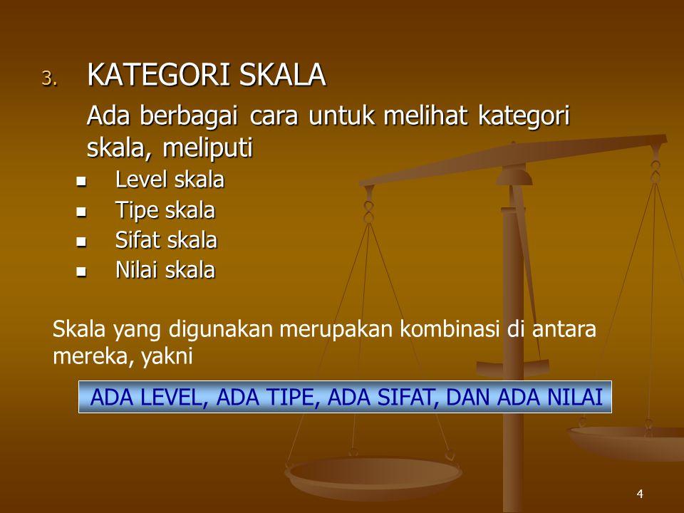 4 3. KATEGORI SKALA Ada berbagai cara untuk melihat kategori skala, meliputi Level skala Level skala Tipe skala Tipe skala Sifat skala Sifat skala Nil