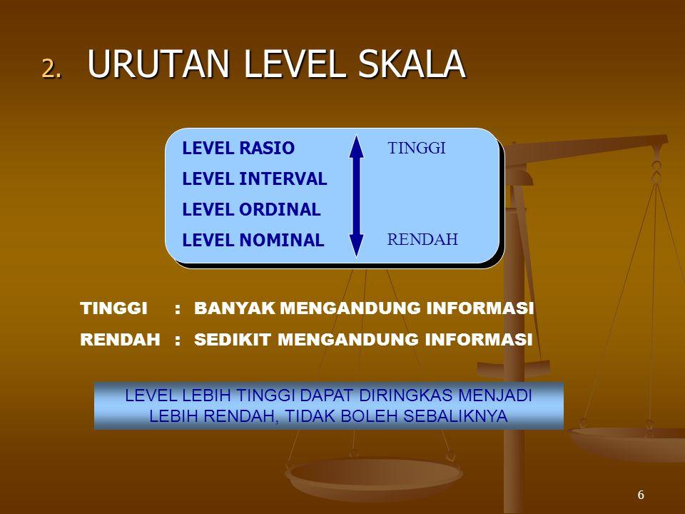 6 2. URUTAN LEVEL SKALA LEVEL RASIO LEVEL INTERVAL LEVEL ORDINAL LEVEL NOMINAL TINGGI RENDAH TINGGI:BANYAK MENGANDUNG INFORMASI RENDAH:SEDIKIT MENGAND