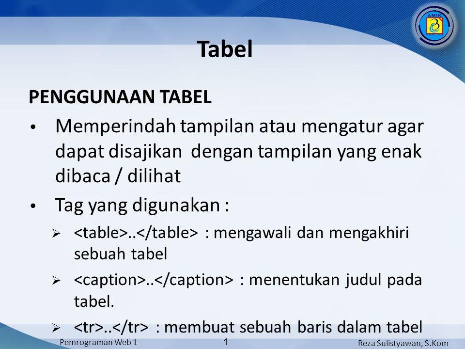 Reza Sulistyawan, S.Kom Pemrograman Web 1 1 Tabel PENGGUNAAN TABEL Memperindah tampilan atau mengatur agar dapat disajikan dengan tampilan yang enak dibaca / dilihat Tag yang digunakan : ..