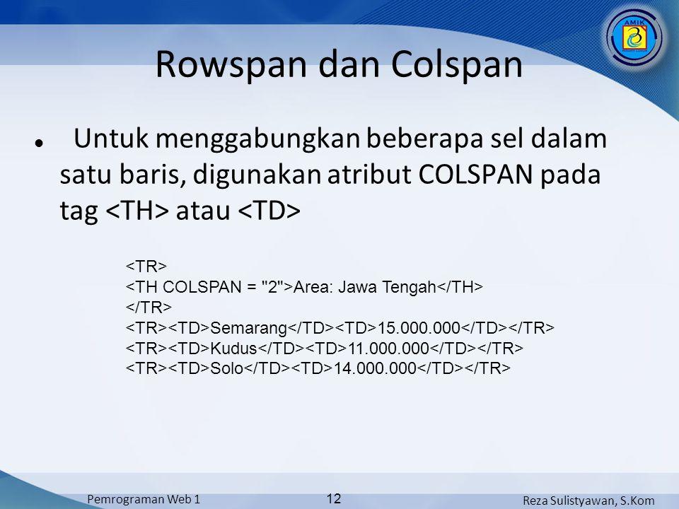 Reza Sulistyawan, S.Kom Pemrograman Web 1 12 Rowspan dan Colspan Untuk menggabungkan beberapa sel dalam satu baris, digunakan atribut COLSPAN pada tag atau Area: Jawa Tengah Semarang 15.000.000 Kudus 11.000.000 Solo 14.000.000