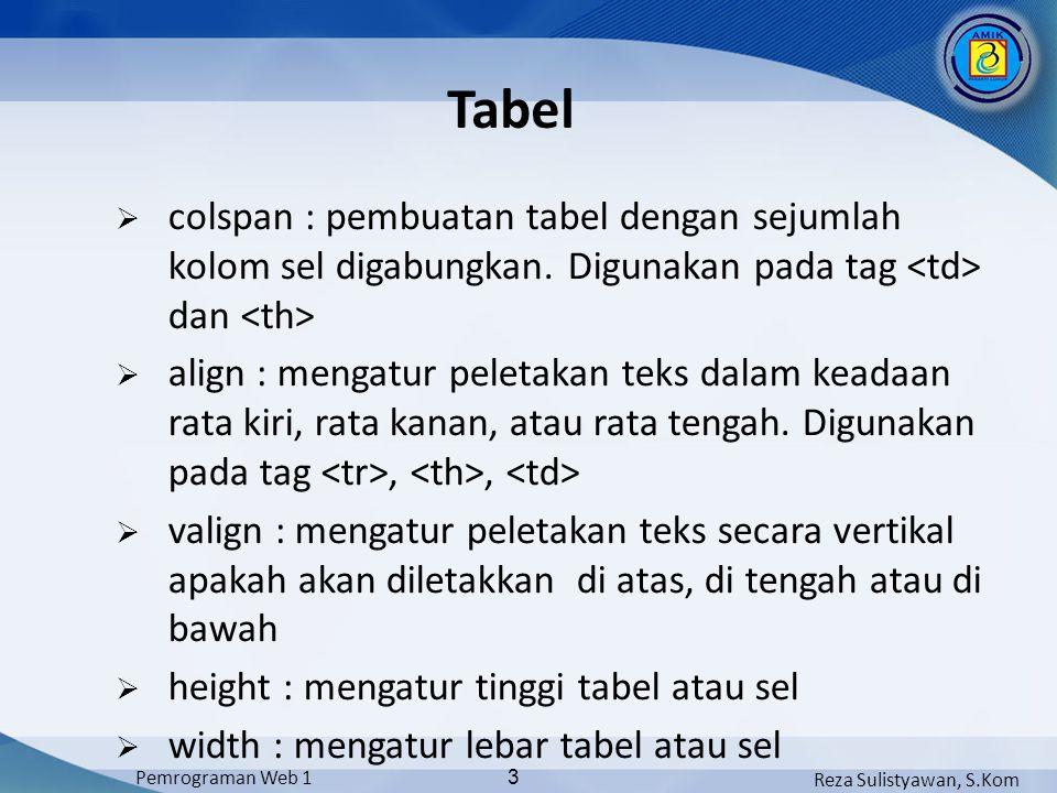 Reza Sulistyawan, S.Kom Pemrograman Web 1 14 Mengatur Tinggi Sel Untuk mengatur tinggi table, digunakan atribut HEIGHT pada tag Nama Usia Ali 25 Fahmianto 27