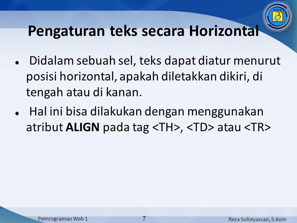 Reza Sulistyawan, S.Kom Pemrograman Web 1 8 Pengaturan teks secara Horizontal Nilai atribut pada ALIGN Nilai ALIGNKeterangan RIGHTTeks diatur rata kanan CENTERTeks ditengahkan LEFTTeks diatur rata kiri