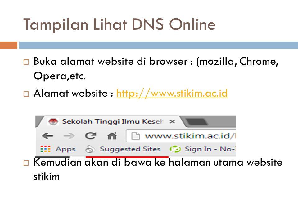Tampilan Lihat DNS Online  Buka alamat website di browser : (mozilla, Chrome, Opera,etc.  Alamat website : http://www.stikim.ac.idhttp://www.stikim.