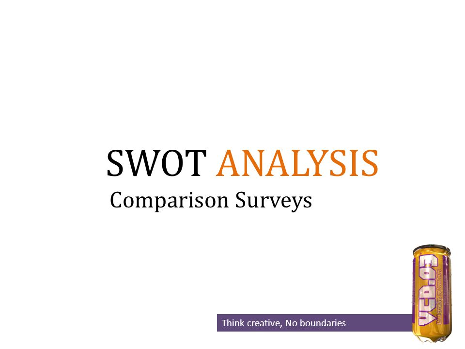 SWOT ANALYSIS Think creative, No boundaries Comparison Surveys