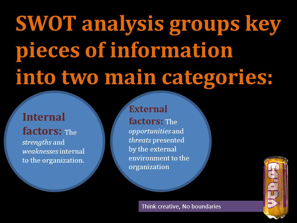 The internal factors may be viewed as strengths or weaknesses depending upon their impact on the organization s objectives.