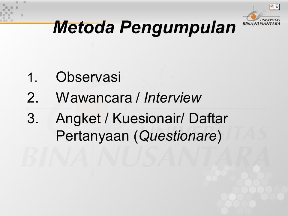 Metoda Pengumpulan 1. Observasi 2. Wawancara / Interview 3. Angket / Kuesionair/ Daftar Pertanyaan (Questionare)