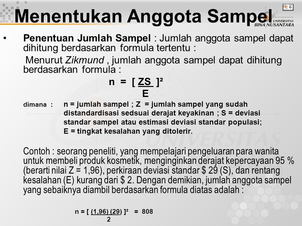 Menentukan Anggota Sampel Penentuan Jumlah Sampel : Jumlah anggota sampel dapat dihitung berdasarkan formula tertentu : Menurut Zikmund, jumlah anggot