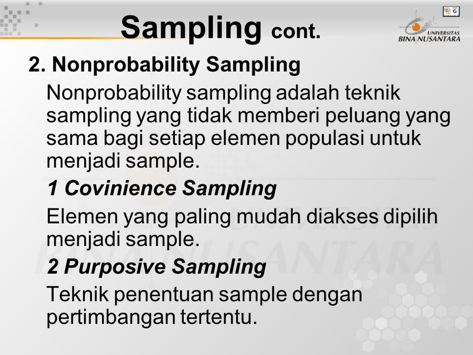 2. Nonprobability Sampling Nonprobability sampling adalah teknik sampling yang tidak memberi peluang yang sama bagi setiap elemen populasi untuk menja