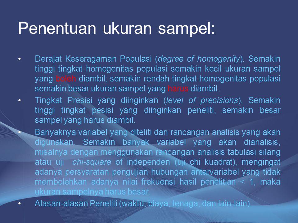Penentuan ukuran sampel: Derajat Keseragaman Populasi (degree of homogenity). Semakin tinggi tingkat homogenitas populasi semakin kecil ukuran sampel
