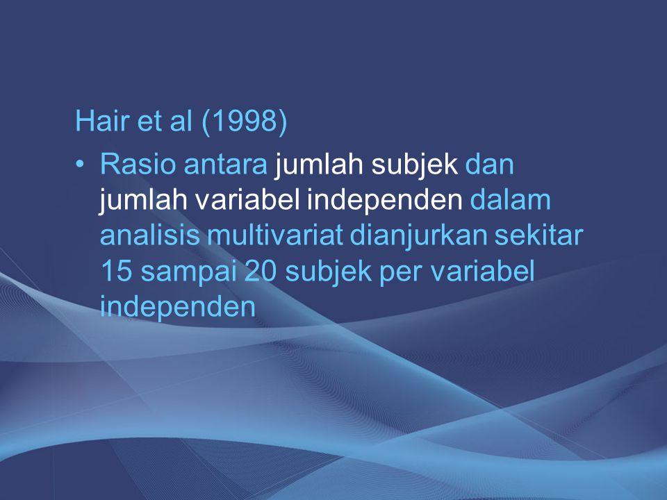 Hair et al (1998) Rasio antara jumlah subjek dan jumlah variabel independen dalam analisis multivariat dianjurkan sekitar 15 sampai 20 subjek per vari