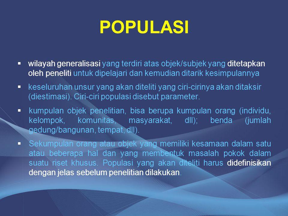 POPULASI  wilayah generalisasi yang terdiri atas objek/subjek yang ditetapkan oleh peneliti untuk dipelajari dan kemudian ditarik kesimpulannya  kes