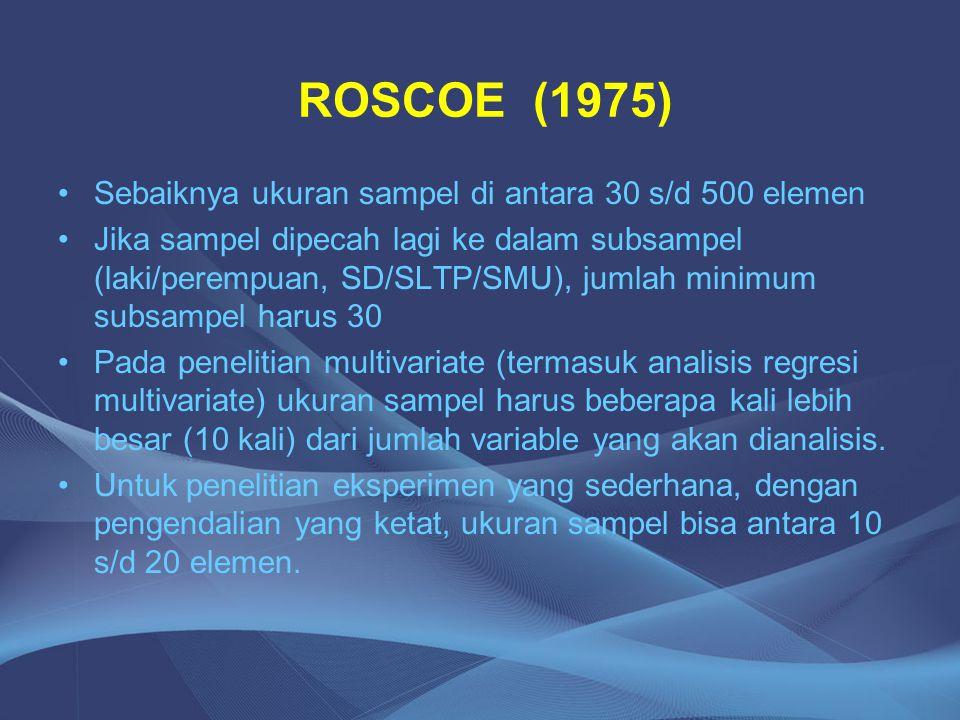 ROSCOE (1975) Sebaiknya ukuran sampel di antara 30 s/d 500 elemen Jika sampel dipecah lagi ke dalam subsampel (laki/perempuan, SD/SLTP/SMU), jumlah mi