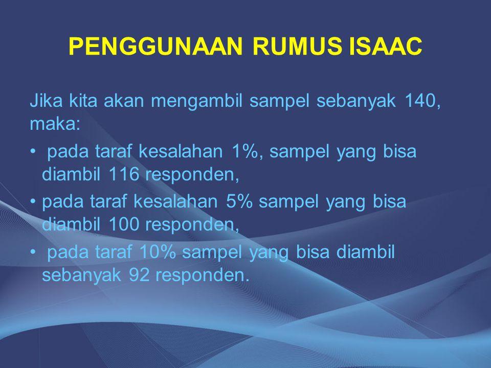 PENGGUNAAN RUMUS ISAAC Jika kita akan mengambil sampel sebanyak 140, maka: pada taraf kesalahan 1%, sampel yang bisa diambil 116 responden, pada taraf