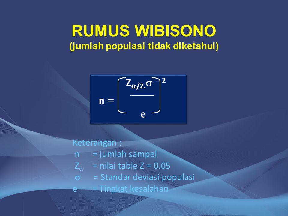 RUMUS WIBISONO (jumlah populasi tidak diketahui) Z  /2.  2 n = e Z  /2.  2 n = e Keterangan : n = jumlah sampel Z  = nilai table Z = 0.05  = Sta