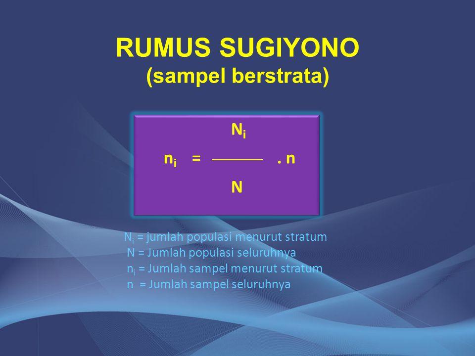 RUMUS SUGIYONO (sampel berstrata) N i n i =. n N N i n i =. n N N i = jumlah populasi menurut stratum N = Jumlah populasi seluruhnya n i = Jumlah samp