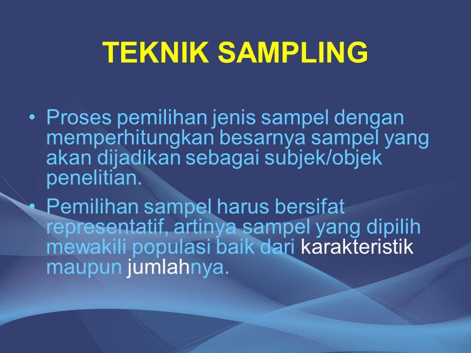 Proses pemilihan jenis sampel dengan memperhitungkan besarnya sampel yang akan dijadikan sebagai subjek/objek penelitian. Pemilihan sampel harus bersi