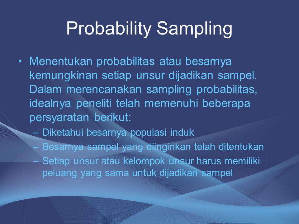 Probability Sampling Menentukan probabilitas atau besarnya kemungkinan setiap unsur dijadikan sampel. Dalam merencanakan sampling probabilitas, idealn