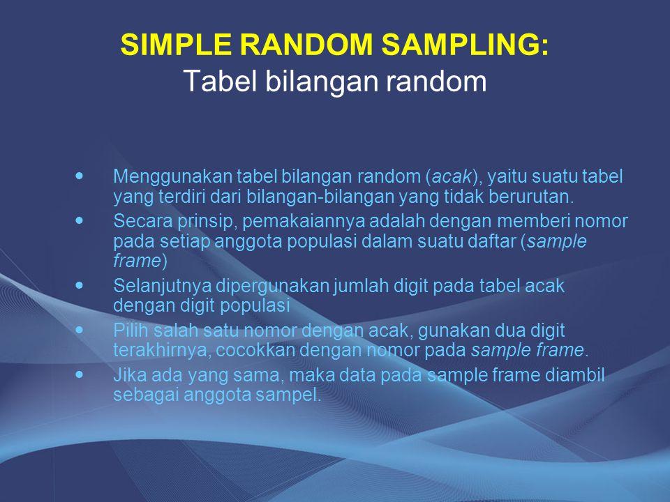 SIMPLE RANDOM SAMPLING: Tabel bilangan random Menggunakan tabel bilangan random (acak), yaitu suatu tabel yang terdiri dari bilangan-bilangan yang tid