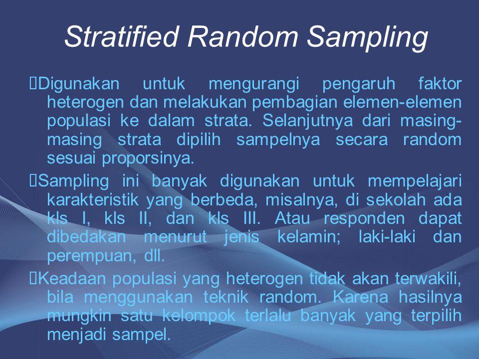 Stratified Random Sampling  Digunakan untuk mengurangi pengaruh faktor heterogen dan melakukan pembagian elemen-elemen populasi ke dalam strata. Sela