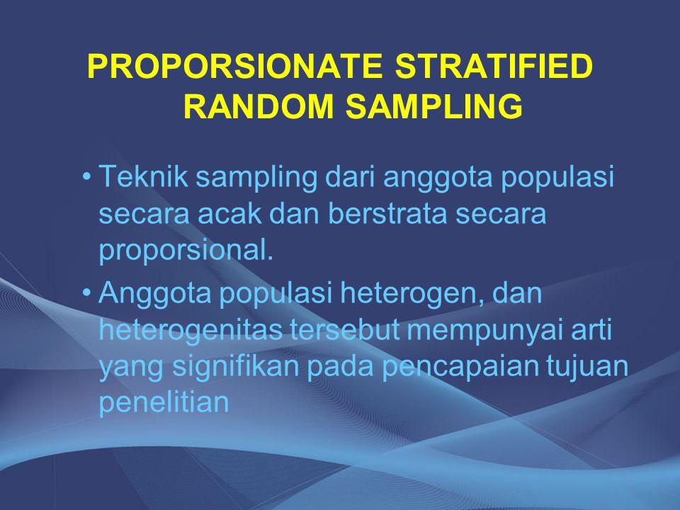PROPORSIONATE STRATIFIED RANDOM SAMPLING Teknik sampling dari anggota populasi secara acak dan berstrata secara proporsional. Anggota populasi heterog