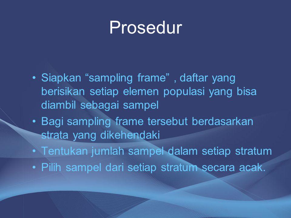 """Prosedur Siapkan """"sampling frame"""", daftar yang berisikan setiap elemen populasi yang bisa diambil sebagai sampel Bagi sampling frame tersebut berdasar"""