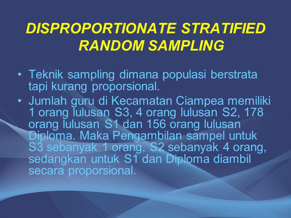 DISPROPORTIONATE STRATIFIED RANDOM SAMPLING Teknik sampling dimana populasi berstrata tapi kurang proporsional. Jumlah guru di Kecamatan Ciampea memil