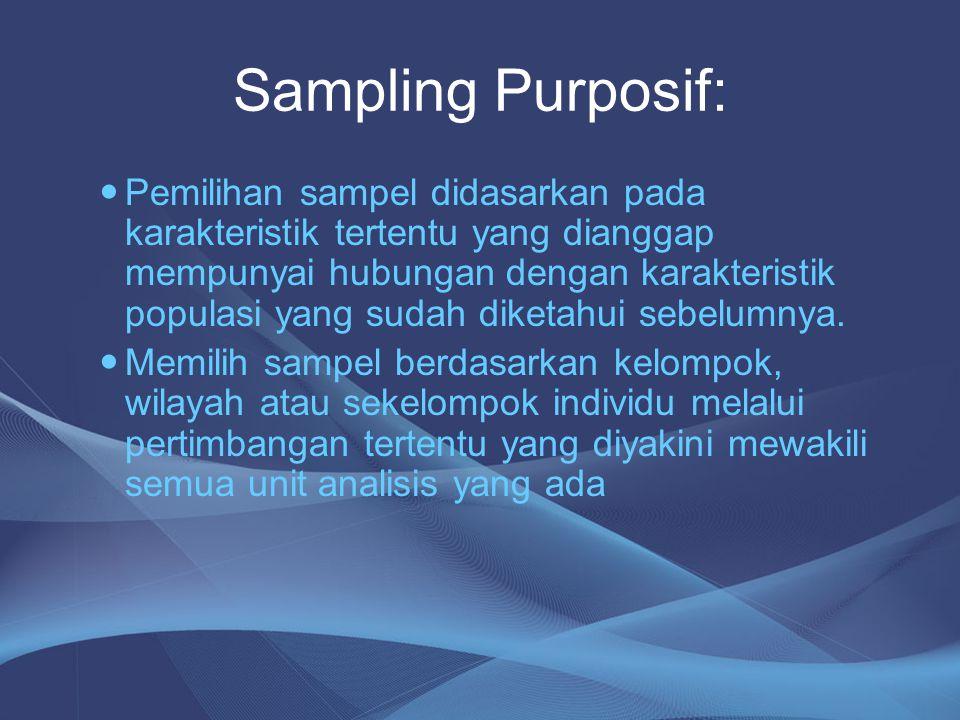 Sampling Purposif: Pemilihan sampel didasarkan pada karakteristik tertentu yang dianggap mempunyai hubungan dengan karakteristik populasi yang sudah d