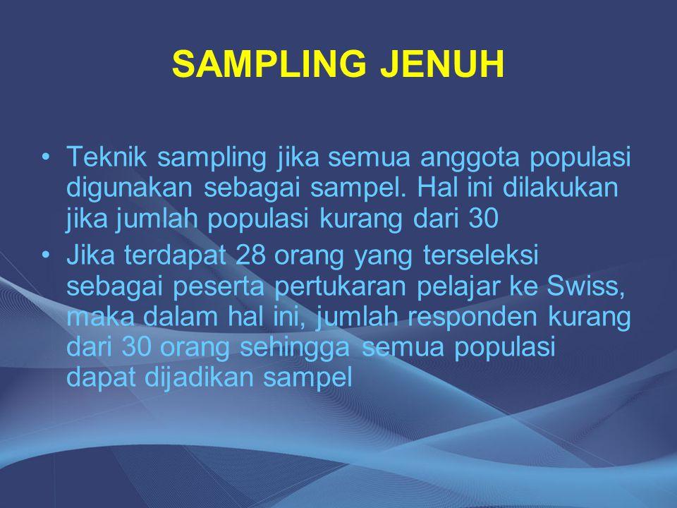 SAMPLING JENUH Teknik sampling jika semua anggota populasi digunakan sebagai sampel. Hal ini dilakukan jika jumlah populasi kurang dari 30 Jika terdap