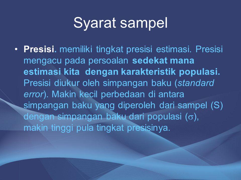 Syarat sampel Presisi. memiliki tingkat presisi estimasi. Presisi mengacu pada persoalan sedekat mana estimasi kita dengan karakteristik populasi. Pre