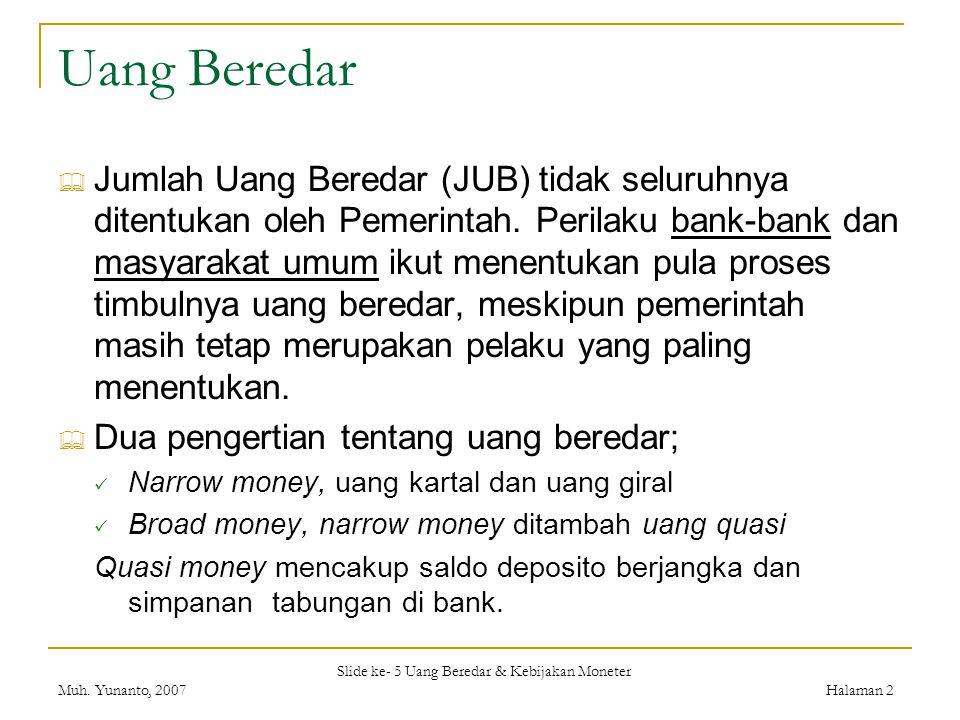 Slide ke- 5 Uang Beredar & Kebijakan Moneter Muh. Yunanto, 2007Halaman 2 Uang Beredar  Jumlah Uang Beredar (JUB) tidak seluruhnya ditentukan oleh Pem