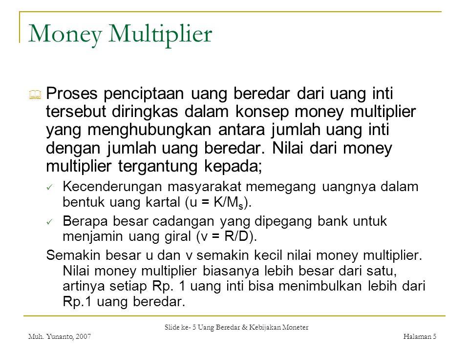 Slide ke- 5 Uang Beredar & Kebijakan Moneter Muh. Yunanto, 2007Halaman 5 Money Multiplier  Proses penciptaan uang beredar dari uang inti tersebut dir