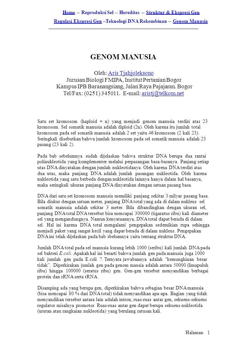 HomeHome -- Reproduksi Sel -- Hereditas -- Struktur & Ekspresi GenStruktur & Ekspresi Gen Regulasi Ekspresi GenRegulasi Ekspresi Gen –Teknologi DNA Re