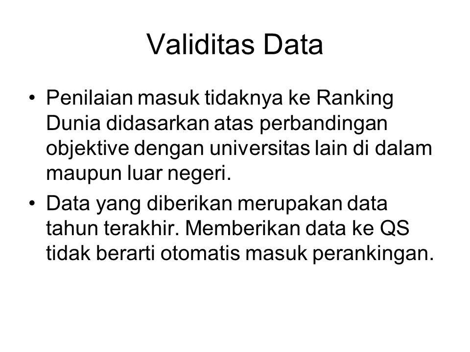 Validitas Data Penilaian masuk tidaknya ke Ranking Dunia didasarkan atas perbandingan objektive dengan universitas lain di dalam maupun luar negeri. D