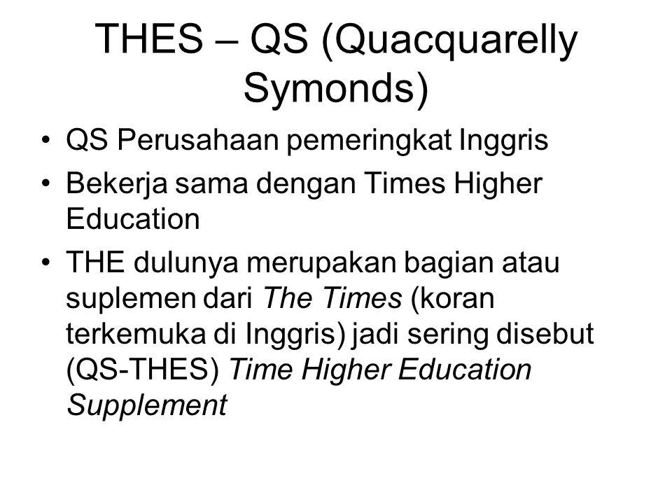 THES – QS (Quacquarelly Symonds) QS Perusahaan pemeringkat Inggris Bekerja sama dengan Times Higher Education THE dulunya merupakan bagian atau suplem