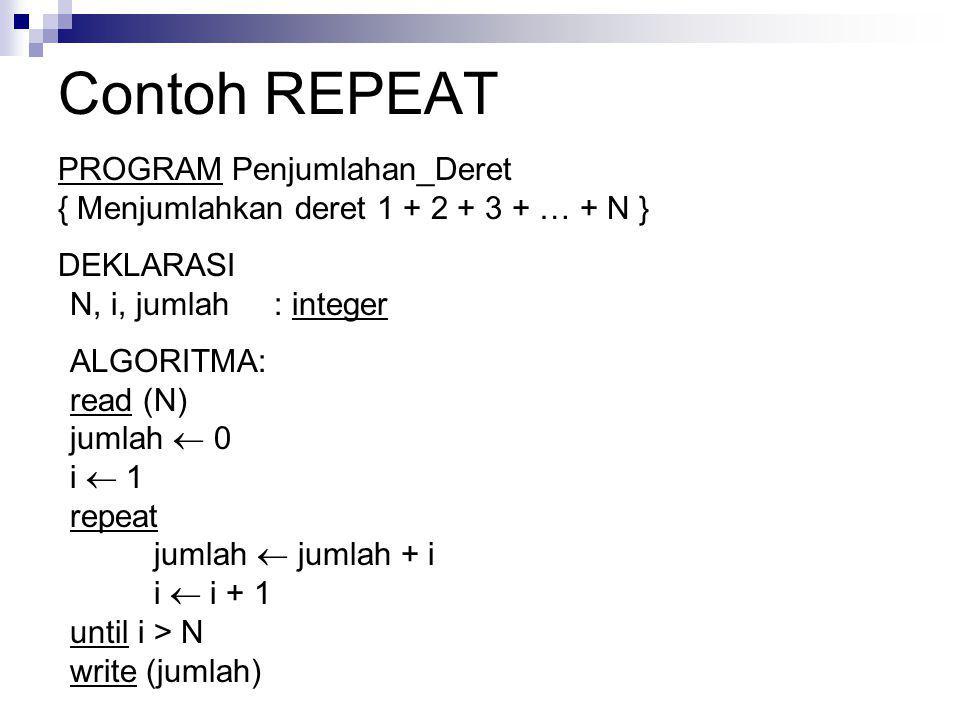 Contoh REPEAT PROGRAM Penjumlahan_Deret { Menjumlahkan deret 1 + 2 + 3 + … + N } DEKLARASI N, i, jumlah : integer ALGORITMA: read (N) jumlah  0 i  1