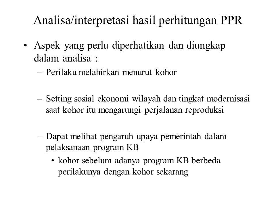 Analisa/interpretasi hasil perhitungan PPR Aspek yang perlu diperhatikan dan diungkap dalam analisa : –Perilaku melahirkan menurut kohor –Setting sosi