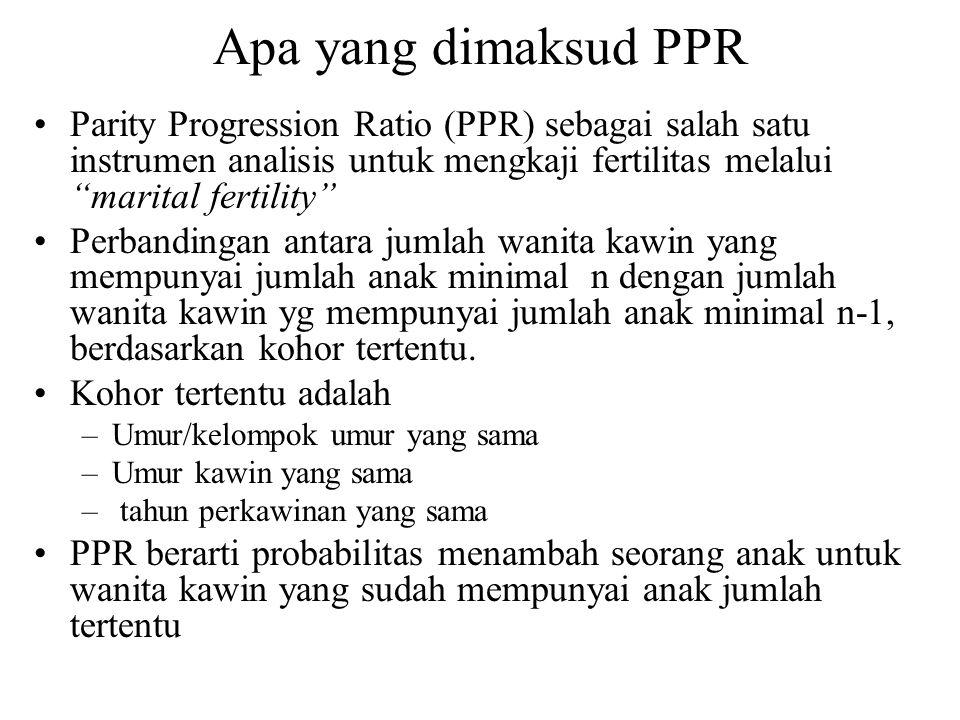 "Apa yang dimaksud PPR Parity Progression Ratio (PPR) sebagai salah satu instrumen analisis untuk mengkaji fertilitas melalui ""marital fertility"" Perba"