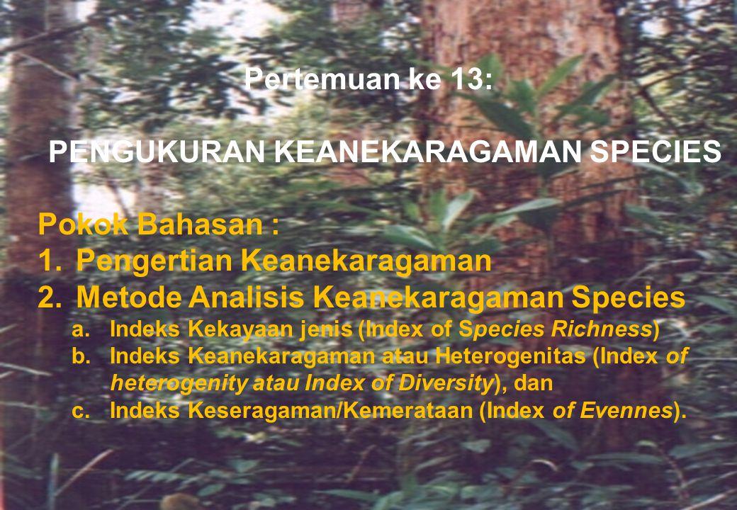 Pertemuan ke 13: PENGUKURAN KEANEKARAGAMAN SPECIES Pokok Bahasan : 1.Pengertian Keanekaragaman 2.Metode Analisis Keanekaragaman Species a.Indeks Kekay