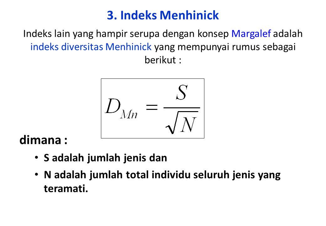 3. Indeks Menhinick Indeks lain yang hampir serupa dengan konsep Margalef adalah indeks diversitas Menhinick yang mempunyai rumus sebagai berikut : di