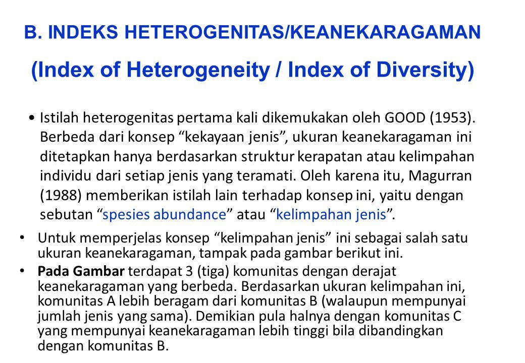 """Istilah heterogenitas pertama kali dikemukakan oleh GOOD (1953). Berbeda dari konsep """"kekayaan jenis"""", ukuran keanekaragaman ini ditetapkan hanya berd"""