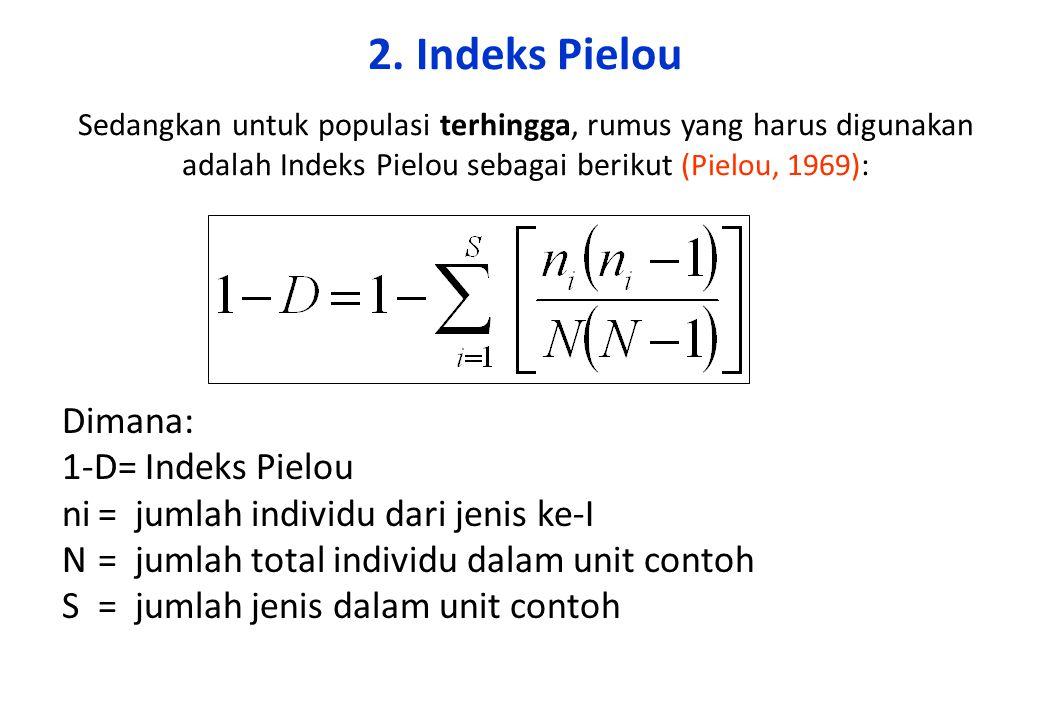2. Indeks Pielou Sedangkan untuk populasi terhingga, rumus yang harus digunakan adalah Indeks Pielou sebagai berikut (Pielou, 1969) : Dimana: 1-D= Ind