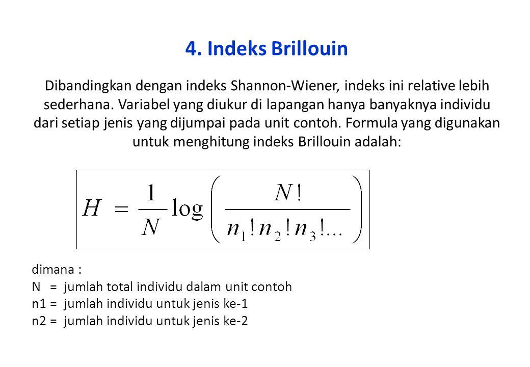 4. Indeks Brillouin Dibandingkan dengan indeks Shannon-Wiener, indeks ini relative lebih sederhana. Variabel yang diukur di lapangan hanya banyaknya i