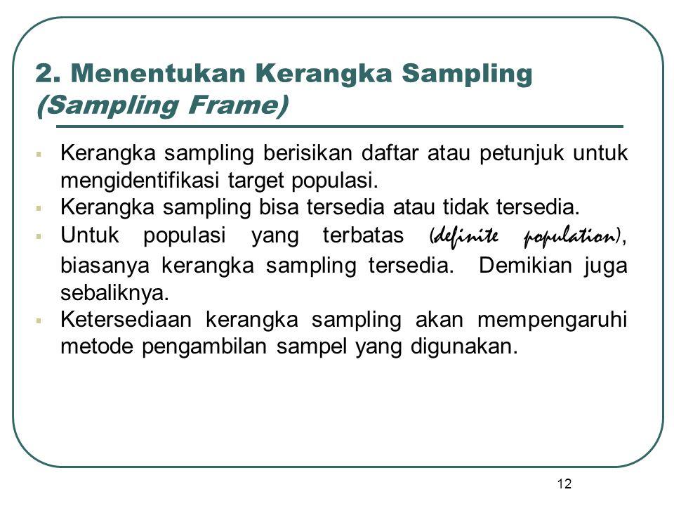 12 2. Menentukan Kerangka Sampling (Sampling Frame)  Kerangka sampling berisikan daftar atau petunjuk untuk mengidentifikasi target populasi.  Keran