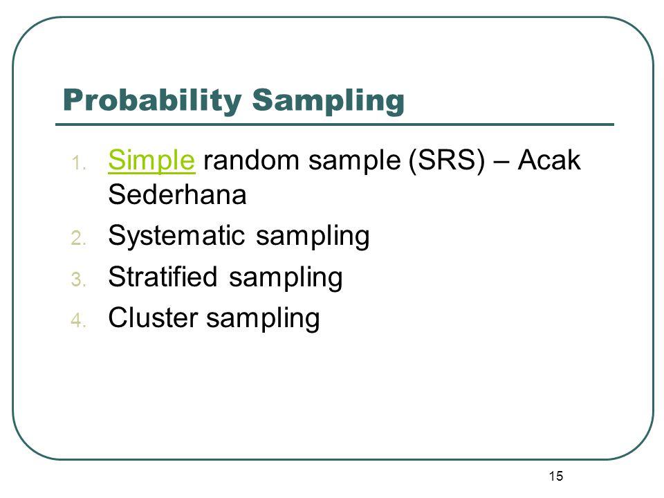 1. Simple random sample (SRS) – Acak Sederhana Simple 2. Systematic sampling 3. Stratified sampling 4. Cluster sampling 15 Probability Sampling
