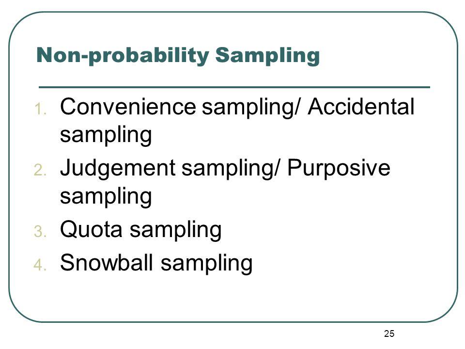 1. Convenience sampling/ Accidental sampling 2. Judgement sampling/ Purposive sampling 3. Quota sampling 4. Snowball sampling 25 Non-probability Sampl